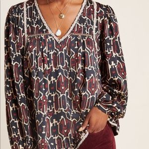 NWOT Anthropologie Embroidered Blouse